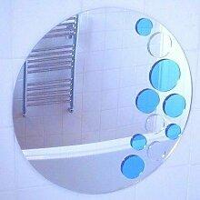 Blau und Silber Bubbles Wandbild Spiegel, acryl, silber, 32 cm Diameter