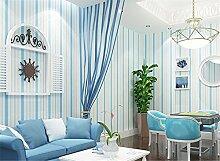 Blau vertikalen Streifen im Mittelmeer Vliestapete Schlafzimmer Wohnzimmer Esszimmer Kinder Raum Boy Tapete, blau, 0.53m*10m