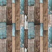 Blau Wandtapete Braun Klebefolie Holz Streifen