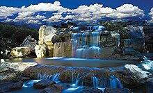 Blau wasserfall fototapete wandbild vlies natur