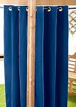 Blau Wasserfest Gebrauchsfertig Außen Ösenvorhang 140cmx305cm Gartenlaube Sommer Haus