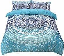 Blau Weiß 2 Personen Böhmen Mandala Bettwäsche