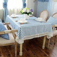 blau Weiß Kariert Spitze Tischdecken Baumwolle leinen Modern minimalistisch Esstisch Rezeption rechteckigen Square nicht bügeln umweltfreundlich garten Tischtuch