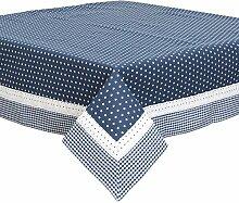 Blau Weiß Sterne Gingham Spitze 100% Baumwolle 150x 150cm–149,9x 149,9cm Tischdecke