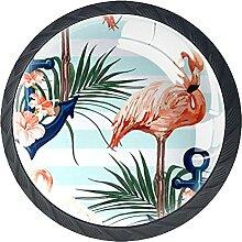 Blau-weißer Flamingo-Anker, 4Pack ABS Kommode