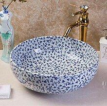 blau-weißes Waschbecken Aufsatzbecken Kunstbecken
