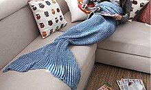 Blaue Baumwolle schöne Fische Decke Fischschwanz Klimaanlage Decke Sofa Decke nap Decke stricken Freizeit Decke ( größe : S )
