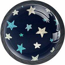Blaue graue weiße Sterne 4 Stück