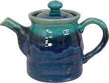 Blaue handgemachte Teekanne mit Edelstahlsieb - 19