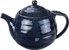 Blaue handgemachte Teekanne mit Edelstahlsieb