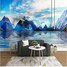 Blaue Landschaft Tintenmalerei Wand Hintergrund