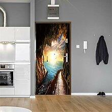 Blaue Meereshöhle Tür Tapete selbstklebend