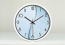 Blaue Mode Kreative Kunst Einfache Wohnzimmer Schlafzimmer Dekoration Wanduhr Dämpfen Glasuhr ( farbe : Weiß , größe : 12 Zoll )