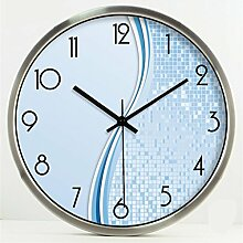 Blaue Mode Kreative Kunst Einfache Wohnzimmer Schlafzimmer Dekoration Wanduhr Dämpfen Glasuhr ( farbe : Silber , größe : 14 Inches )