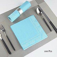 Blaue Papierservietten, 2-lagige farbig bedruckte