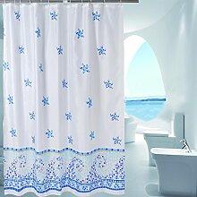 Blaue Polyester-Badvorhang-Verdickung Wasserdichte Anti-Mildew-Trennwand-Badezimmer-hängende Vorhang ( Farbe : Blau , größe : 200*180cm )