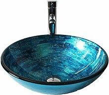 Blaue Runde Glas-Waschbecken mit geraden Rohr