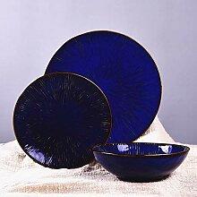 Blaue runde Suppenschüsseln - klassische feste