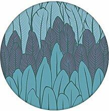 Blaue Streifentapete mit Feder Motiv angepasst an