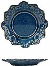 Blaue und weiße antike Relief Keramik Teller Set