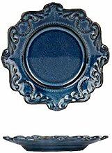 Blaue und weiße Keramik Platte, Abendessen, Antik