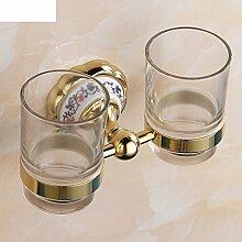 Blaue und weiße Porzellan Becherhalter goldenen Doppel/Bad-Accessoires/Glasschale Zahnbürste-A