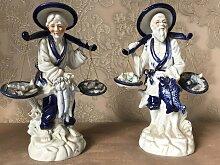 Blaue und weiße Porzellan Fischer Figuren,