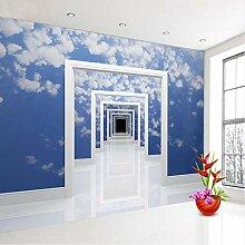 Blauer Himmel Wolke Raum Rahmen Tür Tor 3D Tapete