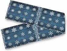 Blauer Holz-Tischläufer für den Winter,