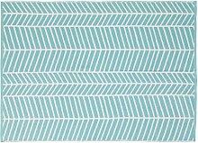 Blauer Outdoor-Teppich mit weißen grafischen
