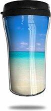 Blauer Ozean weißer Sand Glas Kaffeebecher Travel