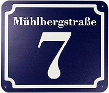 blaues Hausnummer und Straße Schild 2mm