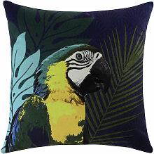 Blaues Kissen mit Papageienmotiv, 45x45