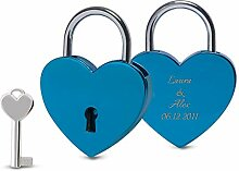 Blaues Liebesschloss mit Gravur