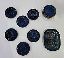 Blaues vintage Tee- und Kaffeeservice von Maria