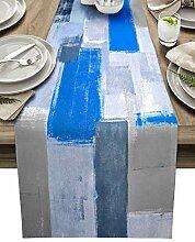 Blaugrauer Tischläufer aus Baumwollleinen, 228 cm