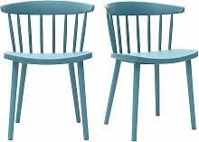 Blaugrüne Design-Stühle mit Leisten innen/außen