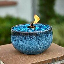 Blaugrüne Tisch-Feuerschale, belüftet, tragbar,
