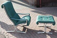 Blaugrüner Siesta Chair mit Hocker von Ingmar