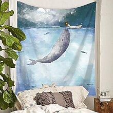 Blauwal Mädchen Wandteppich Kinderzimmer