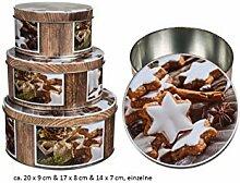 Blechdose Keksdose Set 3tlg rund Weihnachtsmotiv