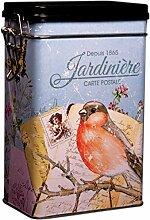 Blechdose/Vorratsdose für Kafee/Tee, Design: French Garden–Jardiniere, Retro-Vintage-Stil,rechteckig, hermetisch abgedichte