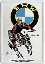 Blechpostkarte BAYERISCHE MOTOREN WERKE BMW R 37 10x14cm Blechkarte PKM 25