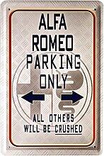 Blechschild 20x30 cm Alfa Romeo parking only Auto Italien Garage Metall Schild