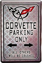 Blechschild 20x30 cm Chevrolet Corvette parking only US Car Kult Auto Garage Metall Schild