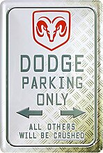 Blechschild 20x30 cm Dodge parking only US Car Kult Auto Oldtimer Werkstatt Garage Metall Schild