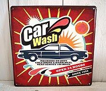 Blechschild Blech Schild Metallschild Nostalgie Retro WERKSTATT Auto bunt (Car Wash)