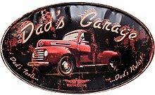 Blechschild Dad Garage Werkstatt Auto Schild 56cm Wandschild Antik-Stil