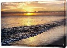 Blechschild Feng Shui Bild Strand Meer Deko Wand