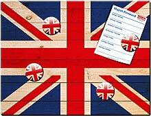 Blechschild Flagge UK mit Magnete, Geschenk Männer Frauen Freunde Dekoschild Wandschild Metallschild, Rot Bunt, 30x40 cm
